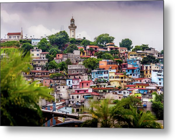 Colorful Houses On The Hill Metal Print
