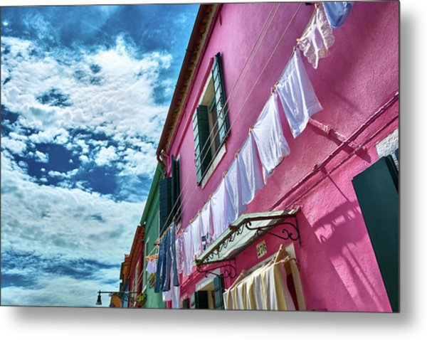 Colorful Facade With Laundry In Burano Metal Print