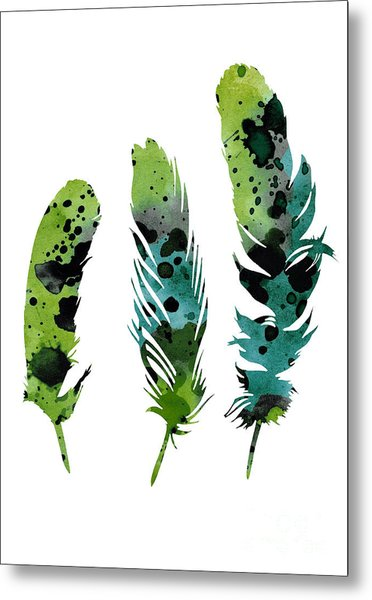 Colorful Feathers Minimalist Painting Metal Print