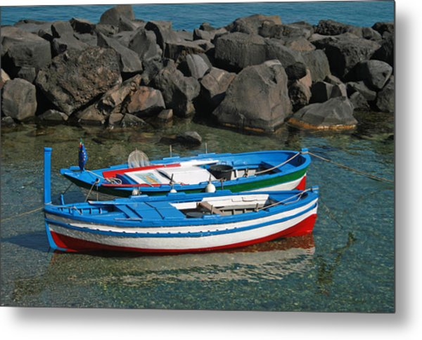 Colorful Fishing Boats Metal Print by Chuck Wedemeier