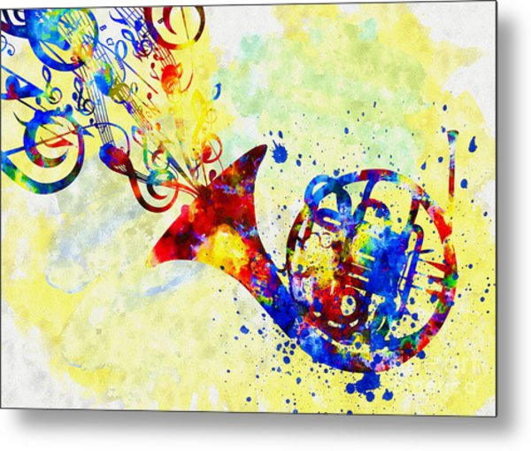 Colorful French Horn Metal Print