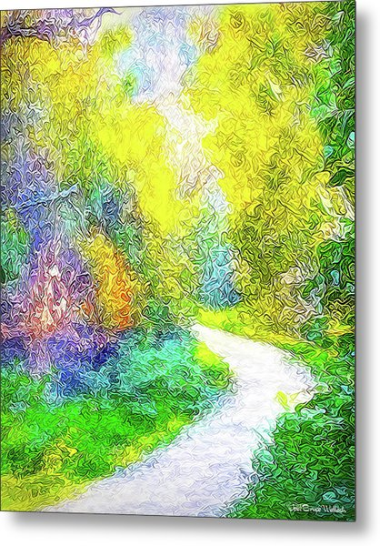 Colorful Garden Pathway - Trail In Santa Monica Mountains Metal Print