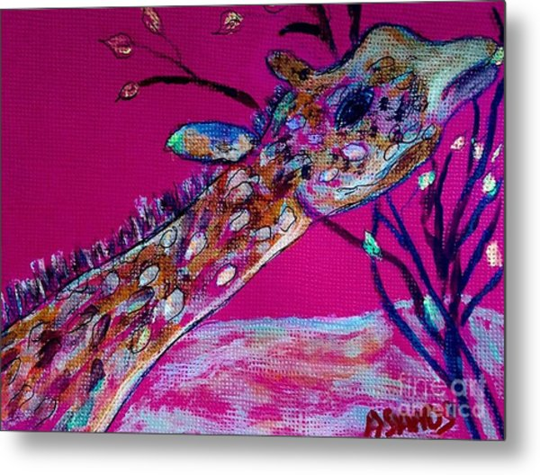 Colorful Giraffe Metal Print