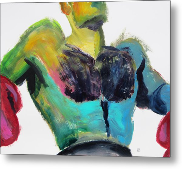 Colorful Hairy Boxer Metal Print
