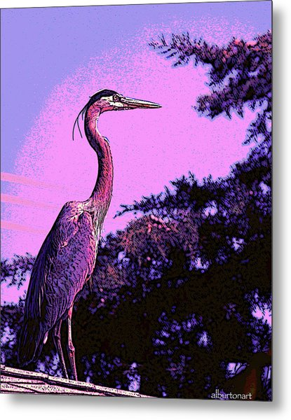 Colorful Heron Metal Print