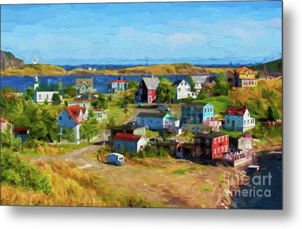 Colorful Homes In Trinity, Newfoundland - Painterly Metal Print