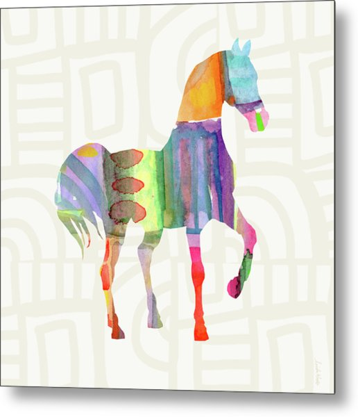 Colorful Horse 3- Art By Linda Woods Metal Print
