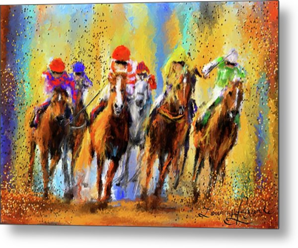 Colorful Horse Racing Impressionist Paintings Metal Print