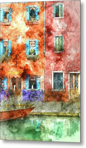 Colorful Houses In Burano Island, Venice Metal Print