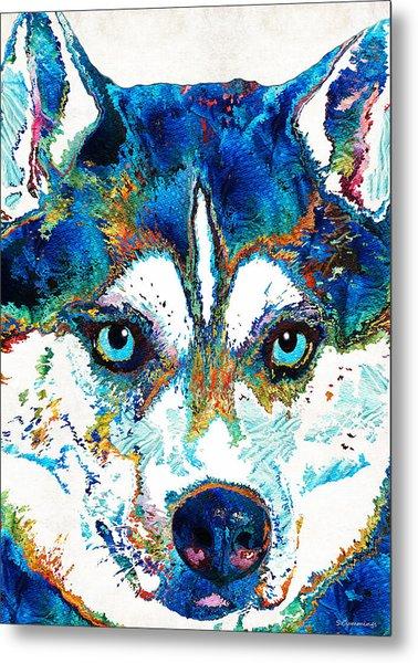 Colorful Husky Dog Art By Sharon Cummings Metal Print