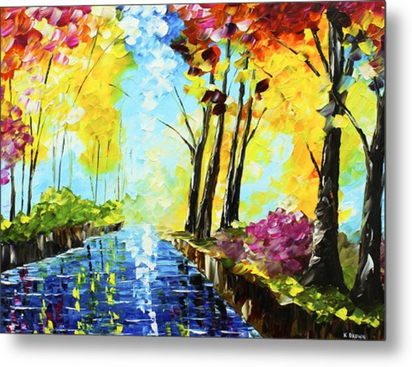 Metal Print featuring the painting Colorful Landscape by Kevin  Brown