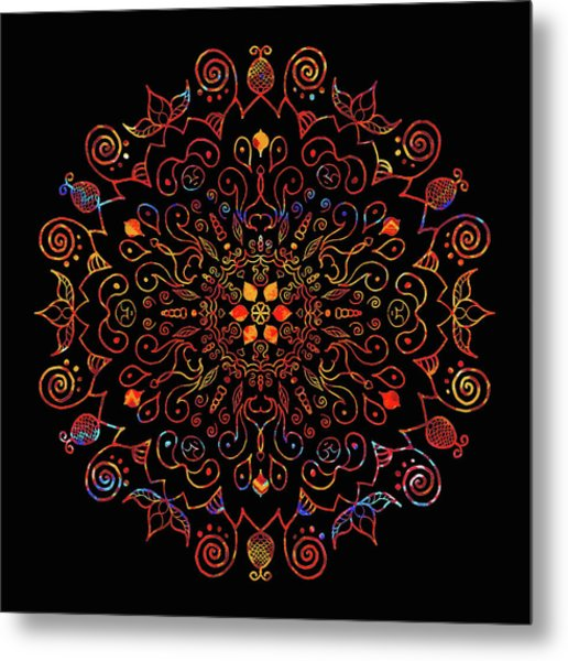 Colorful Mandala With Black Metal Print
