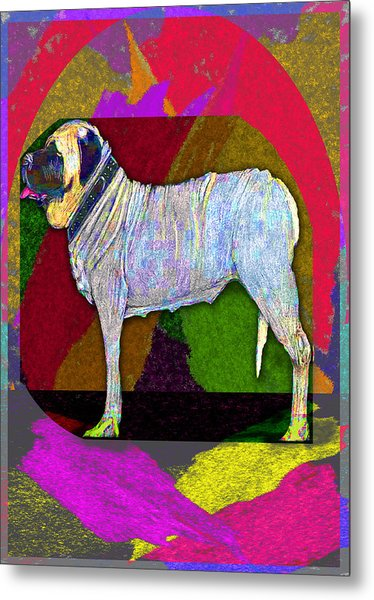 Metal Print featuring the drawing Colorful Mastiff by Michelle Audas