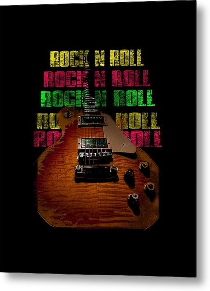 Metal Print featuring the photograph Colorful Music Rock N Roll Guitar Retro Distressed  by Guitar Wacky