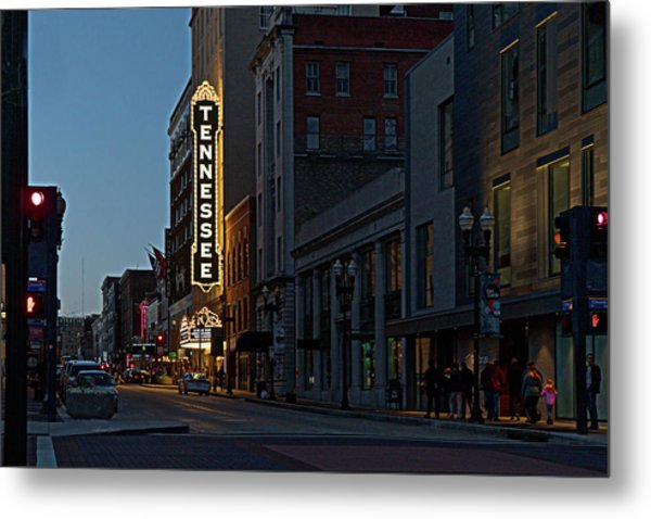 Colorful Night On Gay Street Metal Print