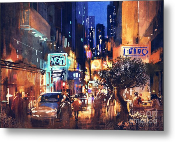 Colorful Night Street Metal Print