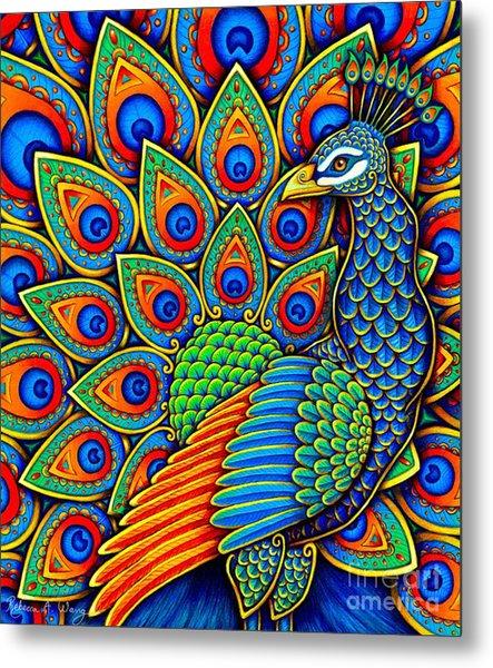 Colorful Paisley Peacock Metal Print