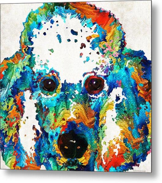 Colorful Poodle Dog Art By Sharon Cummings Metal Print