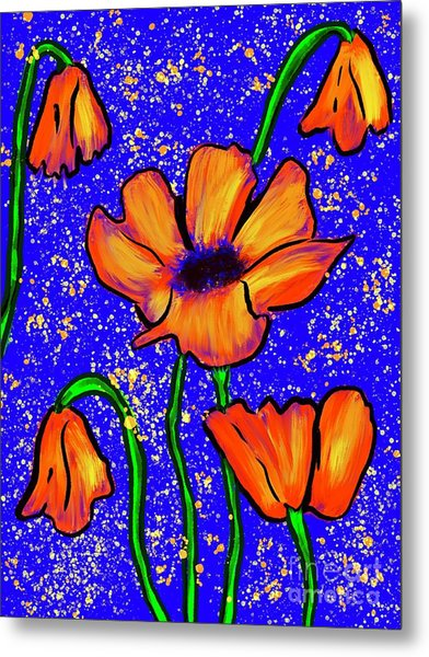 Colorful Flower- Poppies Metal Print