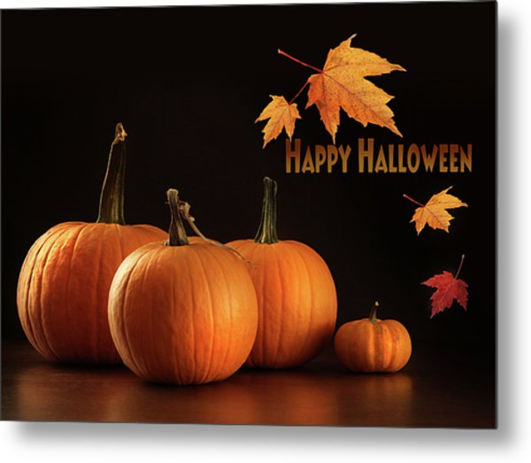 Colorful Pumpkins On Wood Table On Dark  Metal Print
