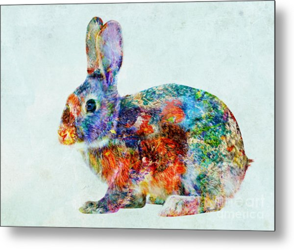 Colorful Rabbit Art Metal Print