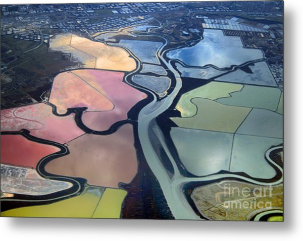 Colorful Salt Evaporation Ponds In San Franccisco Bay Area Metal Print