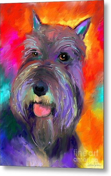 Colorful Schnauzer Dog Portrait Print Metal Print