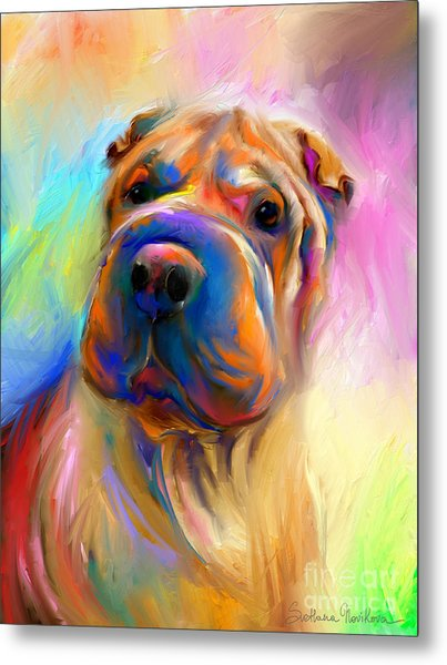 Colorful Shar Pei Dog Portrait Painting  Metal Print