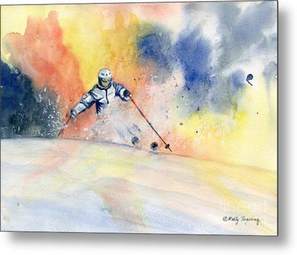 Colorful Skiing Art 2 Metal Print