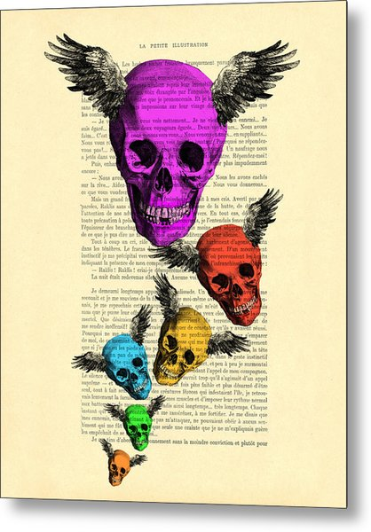 Colorful Rainbow Skull With Wings Illustration On Book Page Metal Print