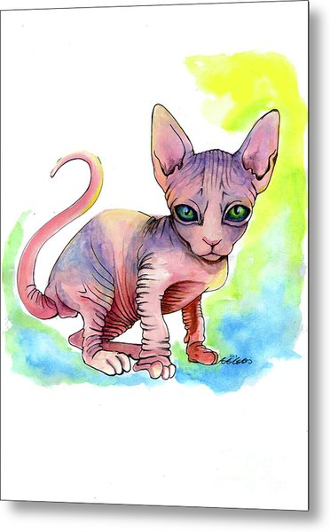 Colorful Sphynx Metal Print