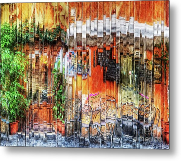 Colorful Street Cafe Metal Print