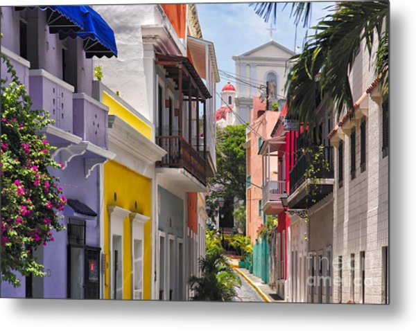 Colorful Street Of Old San Juan Metal Print