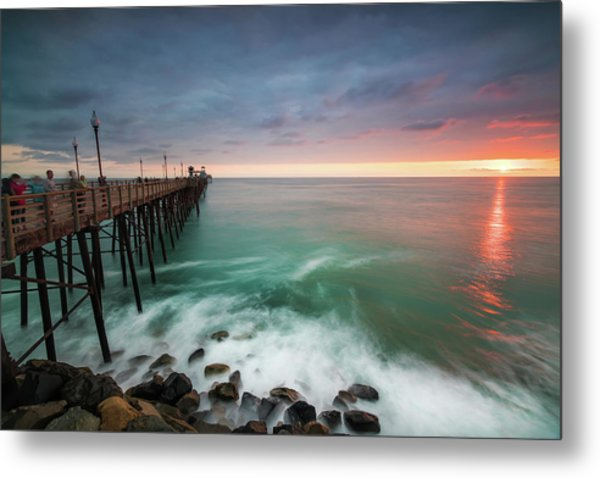 Colorful Sunset At The Oceanside Pier Metal Print