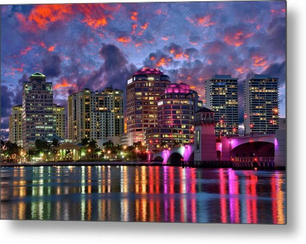 Colorful Sunset Over Downtown West Palm Beach Florida Metal Print