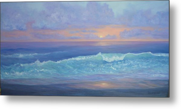 Cape Cod Colorful Sunset Seascape Beach Painting With Wave Metal Print