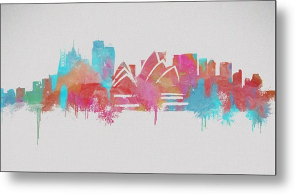 Colorful Sydney Skyline Silhouette Metal Print