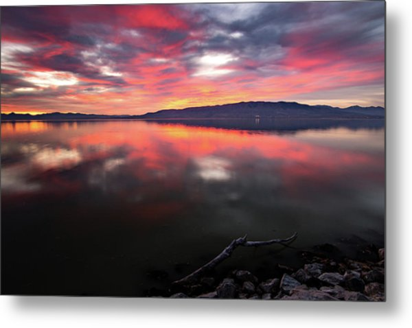Colorful Utah Lake Sunset Metal Print