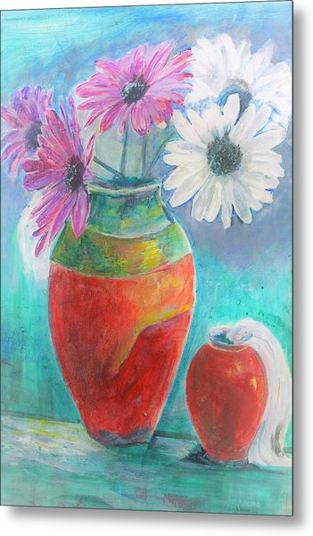 Colorful Vases And Flowers Metal Print
