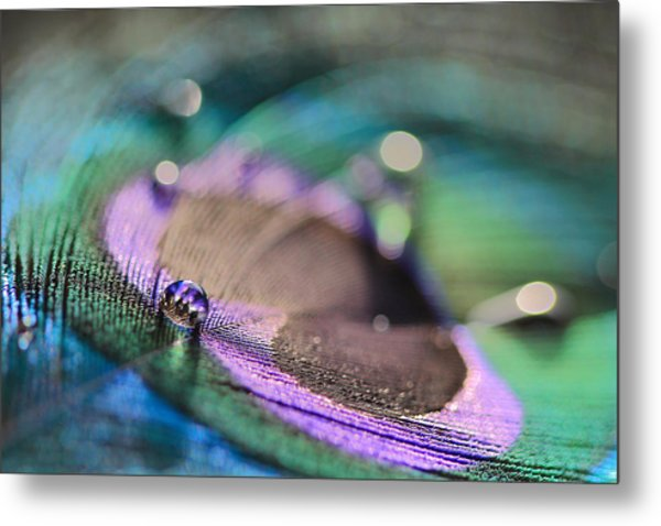 Colorful Water Droplet Metal Print