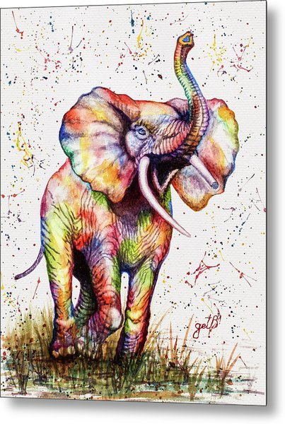 Colorful Watercolor Elephant Metal Print