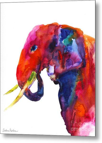 Colorful Watercolor Elephant Metal Print