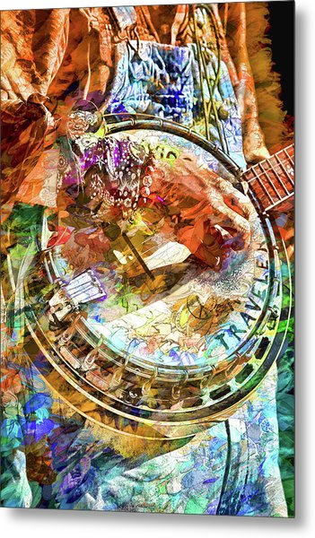 Colors Of A Banjo Busker Metal Print
