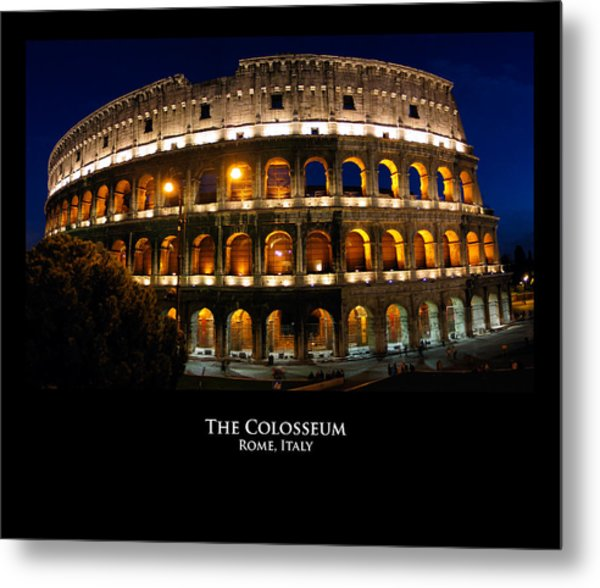 Colosseum At Night Metal Print by Alan Zeleznikar