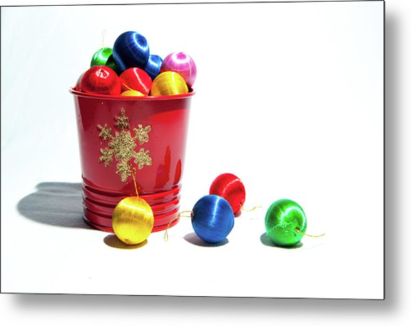 Coloured Baubles In A Pot Metal Print