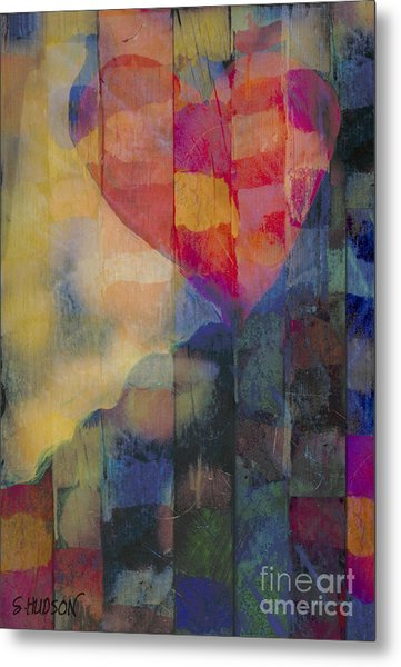 colourful abstract Valentine - Heart Afloat Metal Print