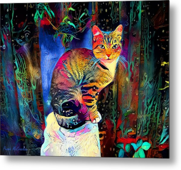 Colourful Calico Metal Print