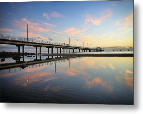 Colourful Cloud Reflections At The Pier Metal Print