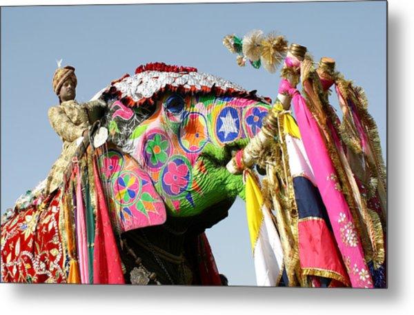 Colourful Elephants At Elephant Festival Metal Print by John Sones