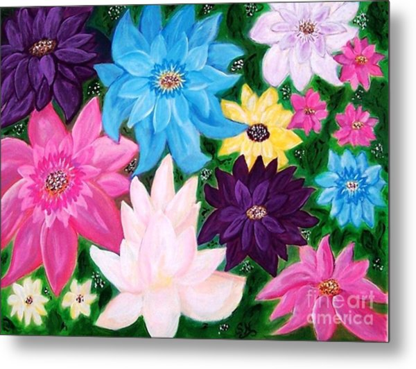Metal Print featuring the painting Colourful Flowers by Sonya Nancy Capling-Bacle